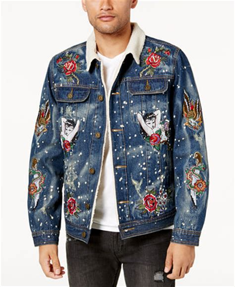 Embroidered Fleece Lined Shirt reason s embroidered fleece lined denim jacket coats