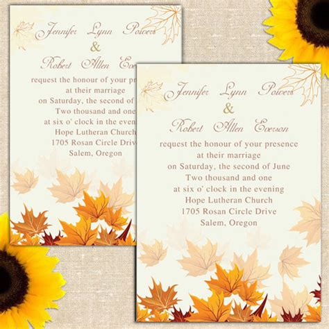 Cheap Fall Wedding Invitations by Fall Leaves Wedding Invitations Ewi248 As Low As 0 94
