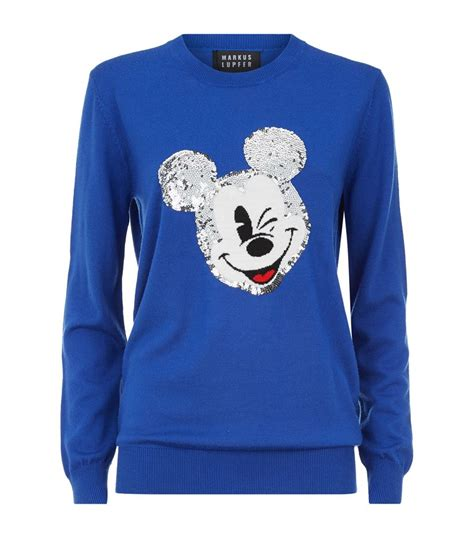 Sweater Mickey Mouse markus lupfer vintage mickey mouse sequin sweater in blue
