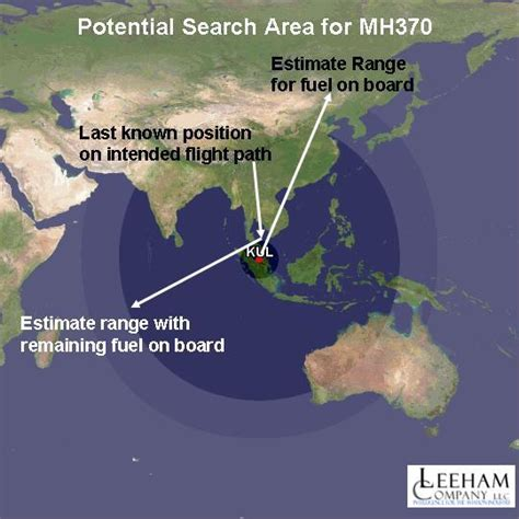 Search For The M Potential Search Area For Mh370 Leeham News And Comment