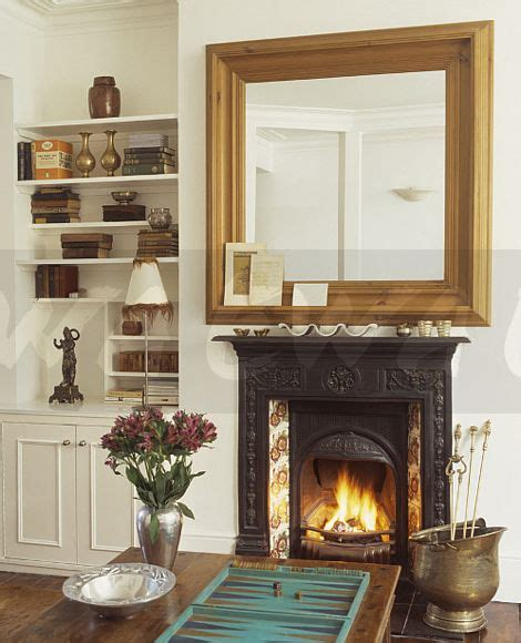 Fireplaces To Go by Image Large Pine Mirror Above Cast Iron
