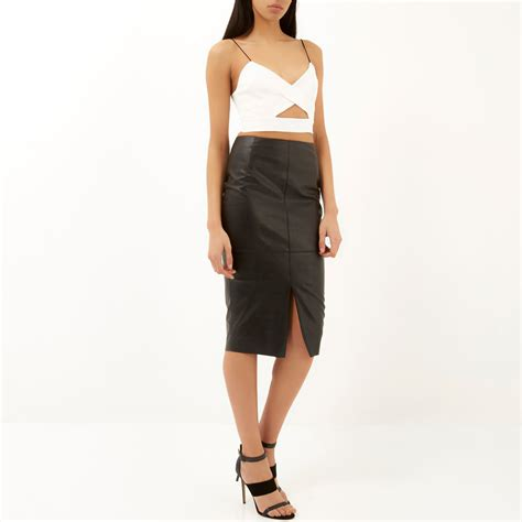 river island black leather look split front pencil skirt