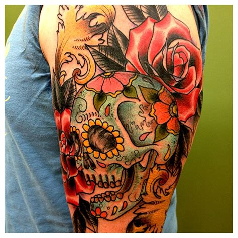 sugar skull woman tattoo designs sugar skull roses and bones tattoos for 187 ideas