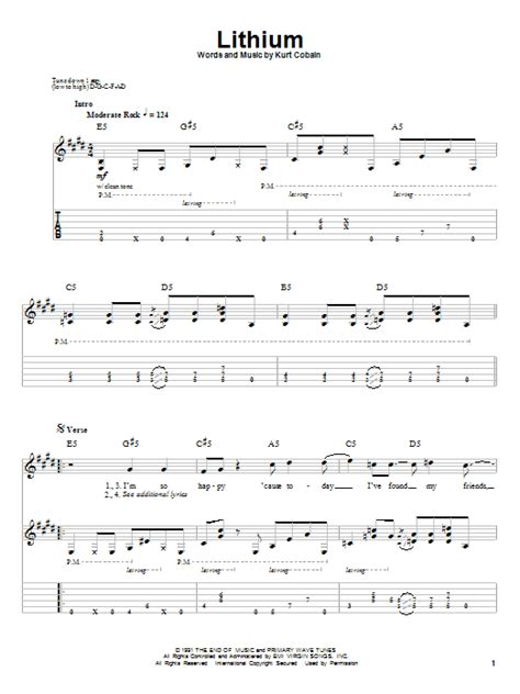 guitar tutorial nirvana lithium by nirvana guitar tab play along guitar instructor