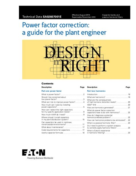 power factor correction why a guide to power factor correction for the plant engineer