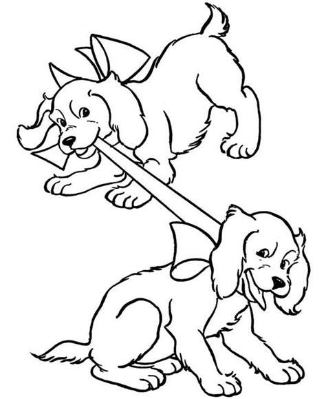 puppy playing coloring page puppy and ribbon free colouring pages
