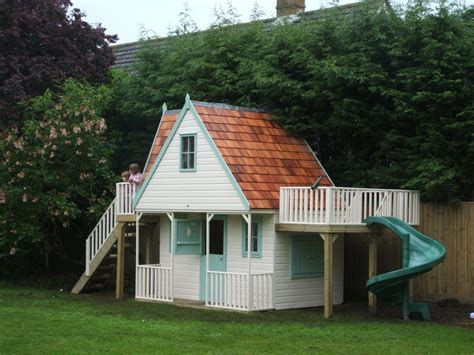 Outside Doors childrens chalet playhouse with spiral slide playhouses