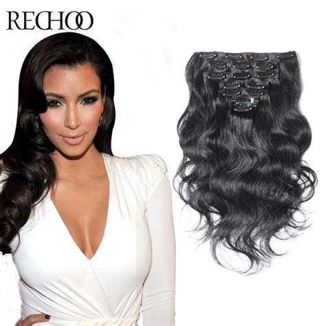 Hair Clip Asli Human Hair weft clip in wavy human hair extensions black hair human hair clip on extensions the real