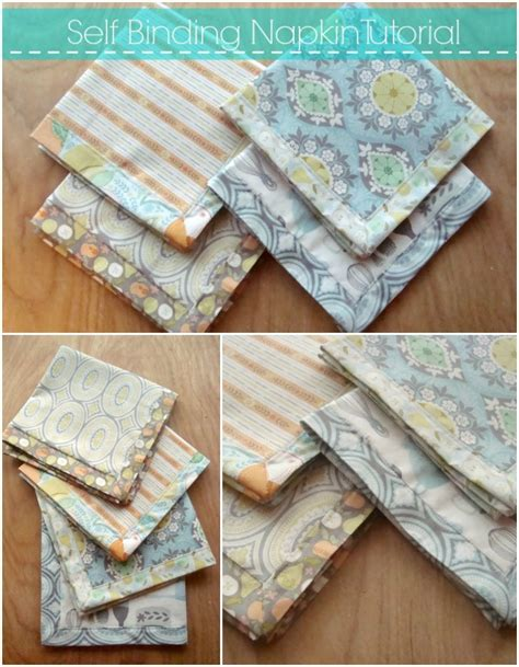 Patchwork Binding - self binding napkin tutorial