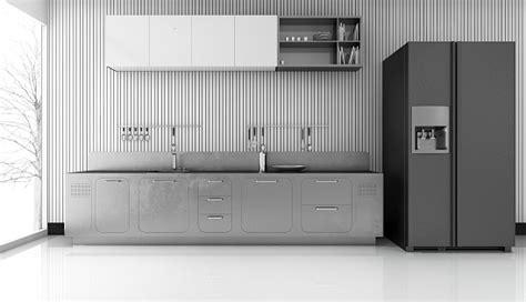 rendering modern metal kitchen  nice fridge stock