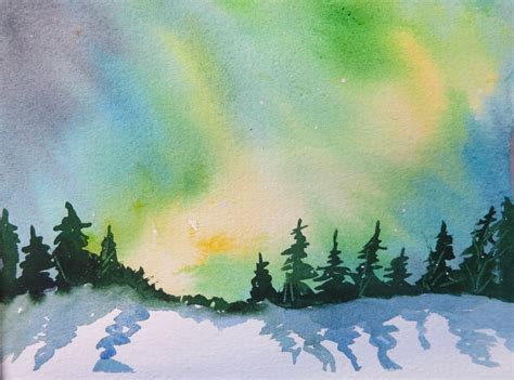 Free Home Design Classes Watercolour For Beginners 9 Aurora Borealis Or Northern