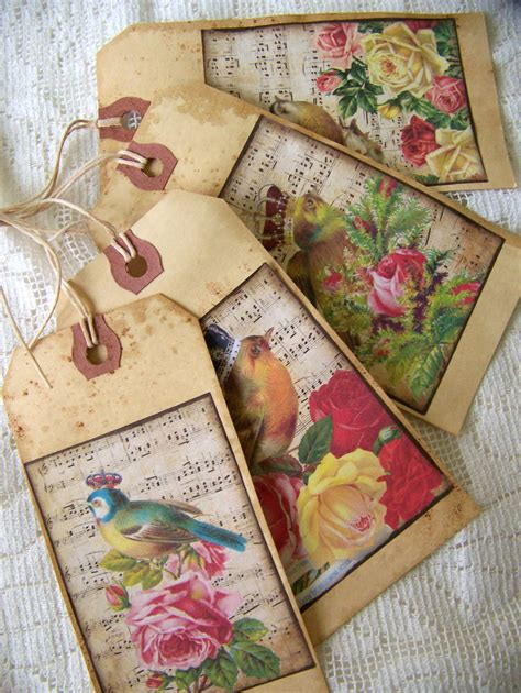 Handmade Vintage Gifts - handmade bird gift tags vintage bird gift tags grunge scented