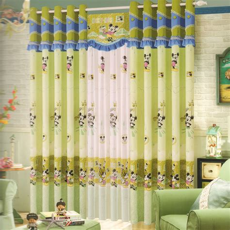 mickey mouse green curtains  kids rooms