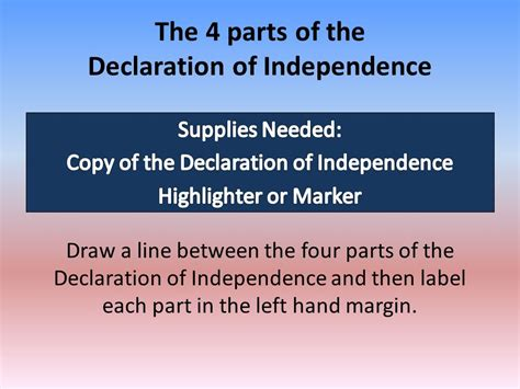 5 Sections Of The Declaration Of Independence by Understanding The Declaration Of Independence Ppt