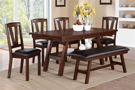 walnut dining bench set poundex f2271 f1331 f1332 walnut table chairs