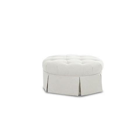 round tufted ottoman with skirt goring roundelay white bench