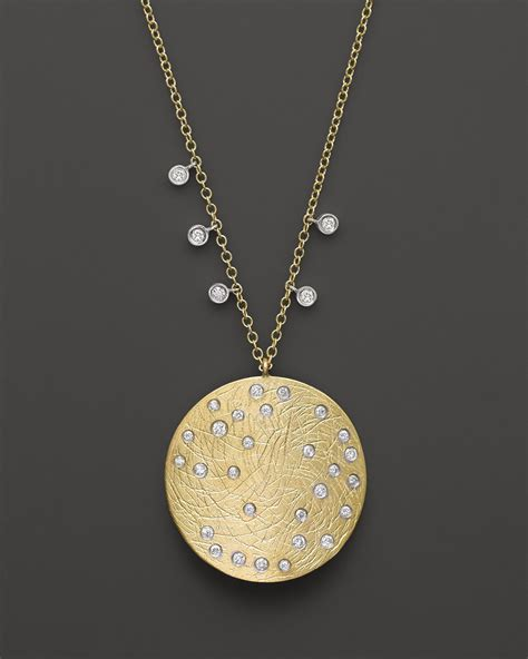 meira t 14k yellow white gold large disc necklace 16