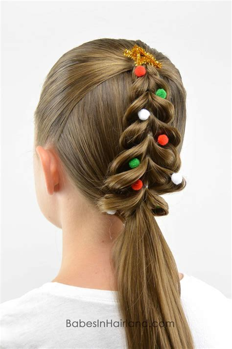 christmas tree hairstyle tree pull through braid in hairland