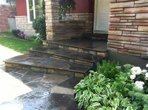 concrete overlay done flagstone step front steps