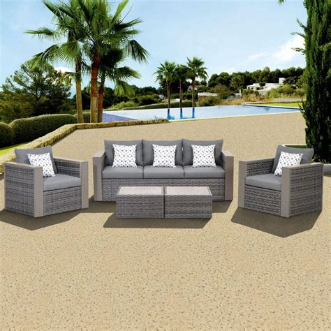 Atlantic contemporary lifestyle mustang 5 piece all weather wicker patio conversation set with