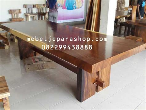 meja kayu trembesi papan besar mjs furniture
