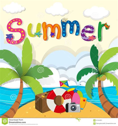 summer themes summer theme with beach objects stock vector image 61344351