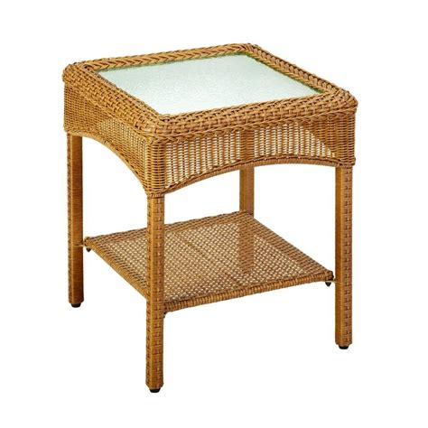 wicker accent table martha stewart living charlottetown natural all weather