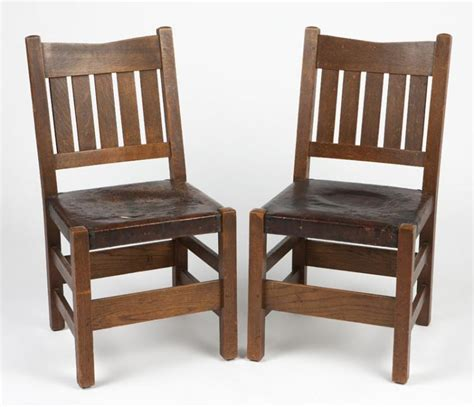Stickley Dining Chairs A Pair Of Gustav Stickley Dining Chairs No 354 1 2