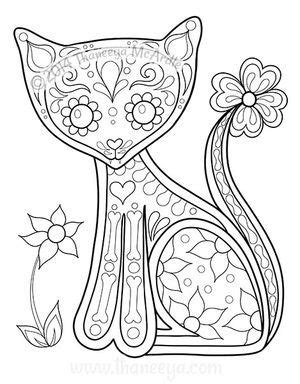 day of the dead animal coloring pages 590 best color pages cats images on pinterest coloring