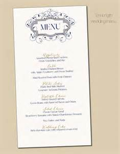 navy gold swirl border wedding menu card diy print by itcoa