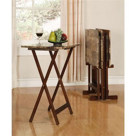 linon home decor tray table set faux marble in brown