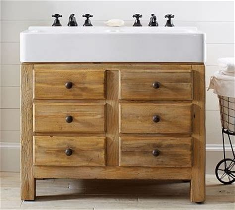pine bathroom vanity unit mason reclaimed wood double sink console wax pine finish