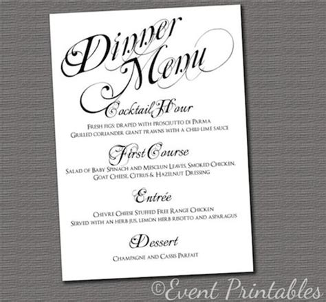 Menu Card Template For Wedding Reception by Printable Menu Card Diy Wedding Reception By Eventprintables