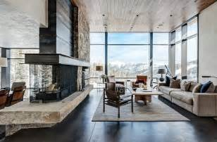 Mountain Home Interiors rustic contemporary living room luxury mountain homes