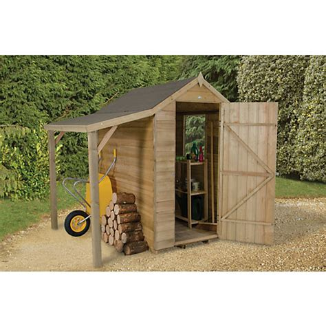 Travis Perkins Sheds by Wickes Overlap Pressure Treated Apex Shed 4x6 With Shelter