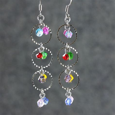 Earring Handmade - colorful dangling hoop earrings handmade ani designs