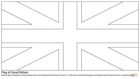 kingdom of great britain flag coloring page free