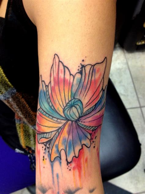 modern art tattoo color abstract flower design bild