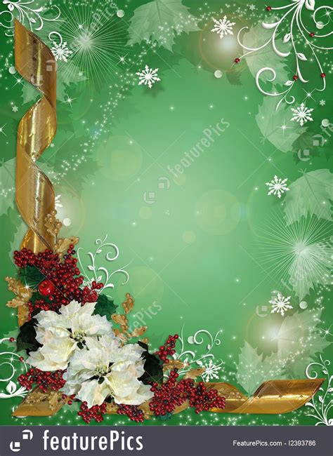 christmas border ribbons  poinsettias illustration