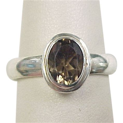 vintage sterling silver smoky quartz ring from
