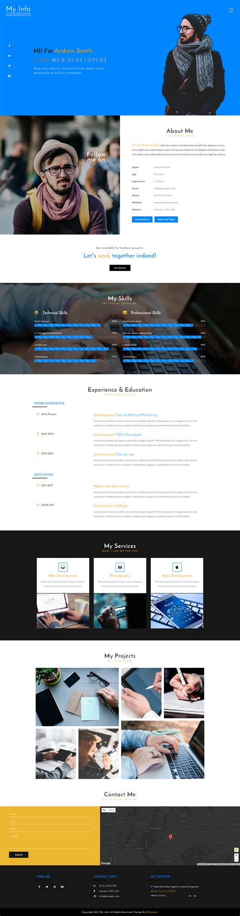 My Info A Personal Category Bootstrap Responsive Web Template Bootstrap Responsive Website Templates