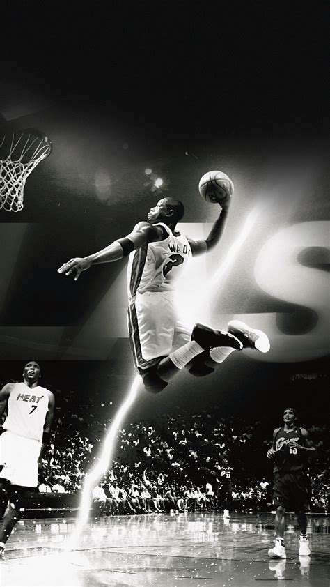 wallpaper hd android nba dwyane wade dunk nba flash sports black and white android