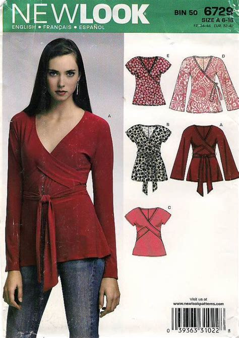 sewing pattern wrap new look 6729 misses wrap top sewing pattern uncut