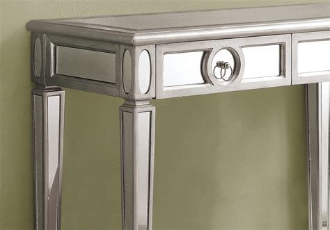 silver table l accent table 38 quot l brushed silver mirror tables