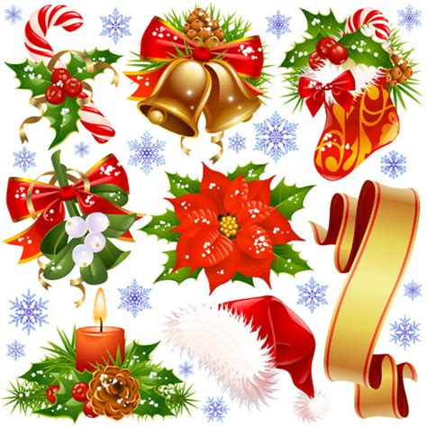 different xmas decorations vector material 05 vector