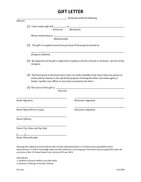 Gift Letter Affidavit fha gift letter template pdf docoments ojazlink