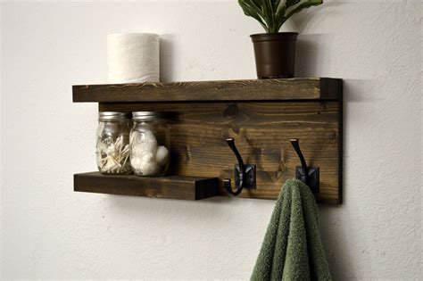 Towel Shelves For Bathrooms Modern Bathroom 2 Tier Floating Shelf Towel By Rusticmoderndecor