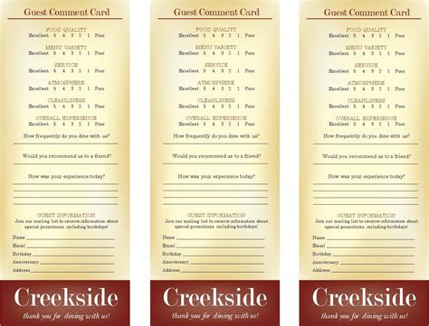 restaurant comment card template restaurant comment cards images