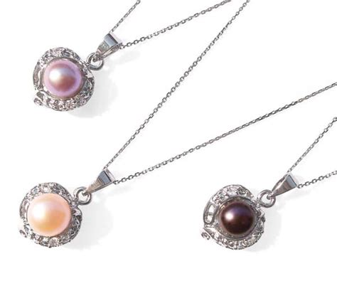 Caring Colours Illuminate Timeless Dac 02 Sea Gold 10gr 7mm white pink mauve and black pearl pendant with tiny cz diamonds 16in silver chain