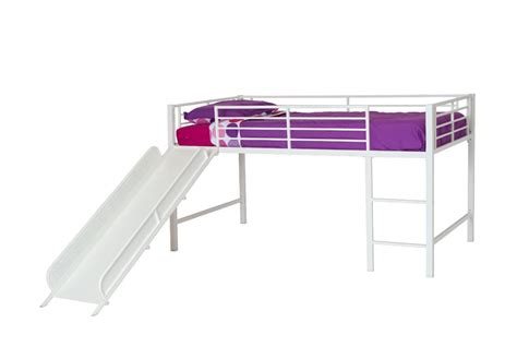 metal loft bed with slide grand slide loft bed twin dhp junior kids bedroom white furniture bunk girls boy ebay